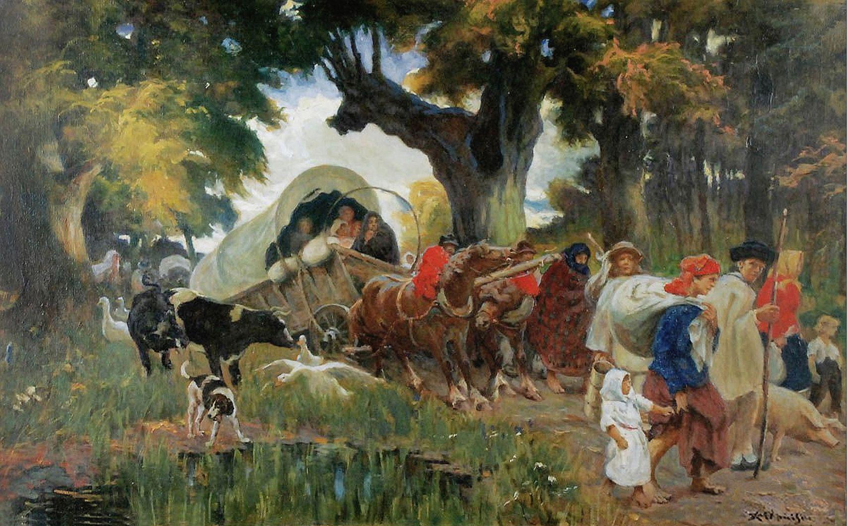 Ян Казімеж Ольпінський. В дорозі; полотно, олія