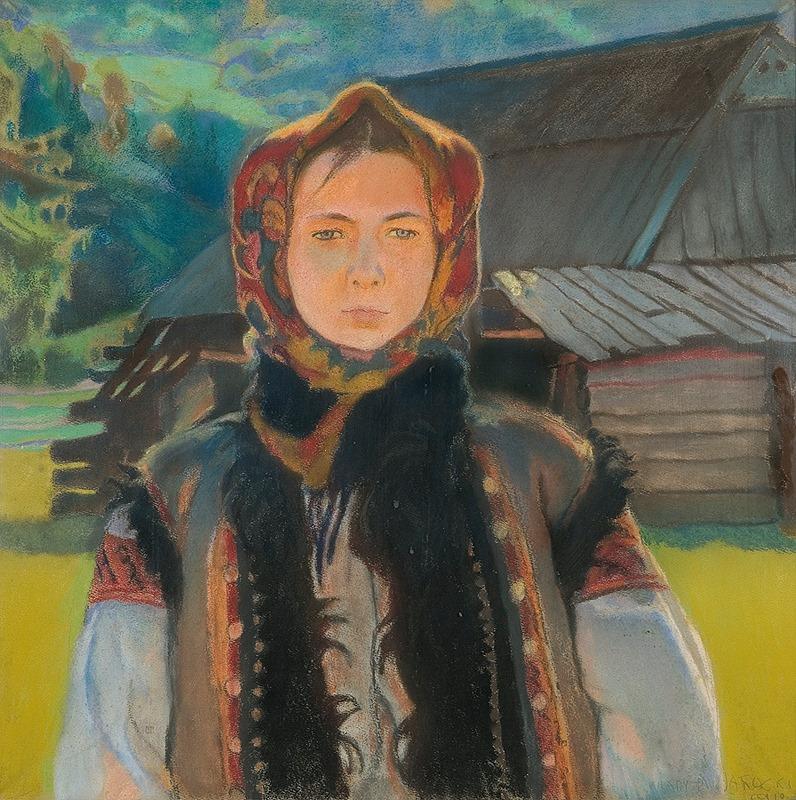 Владислав Яроцький. Дівчина з карпатських гір, 1910; пастель, папір; 69 x 69.5