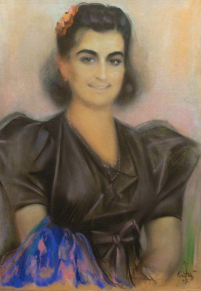 Юзеф Кідонь. Дама з блакитним шаликом, 1947; папір, пастель