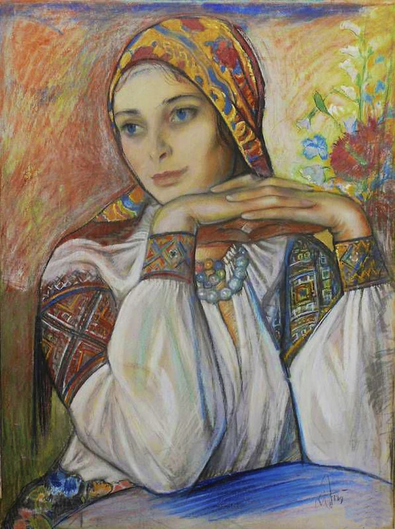 Юзеф Кідонь. Дівчина в гуцульському строї, 1937; картон, пастель