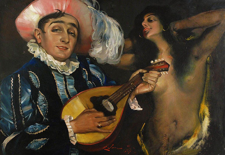 Юзеф Кідонь. Художник і циганка, 1929; картон, олія