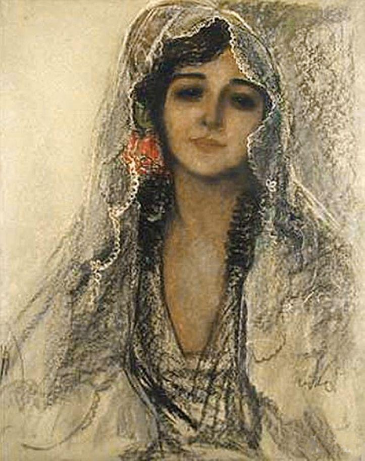 Юзеф Кідонь. Іспанка, 1930; папір, картон, олівець