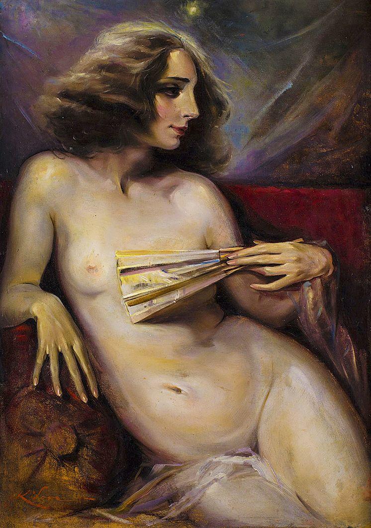 Юзеф Кідонь. Ню з віялом, 1920-ті; картон, олія