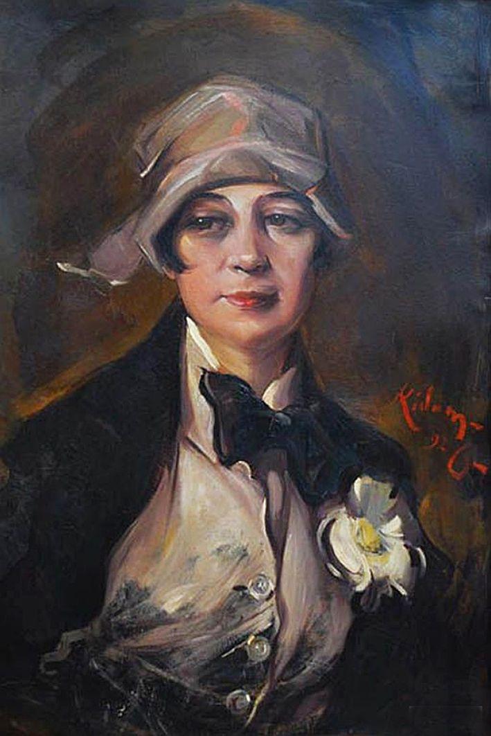 Юзеф Кідонь. Жінка в білому жилеті, 1926; картон, олія
