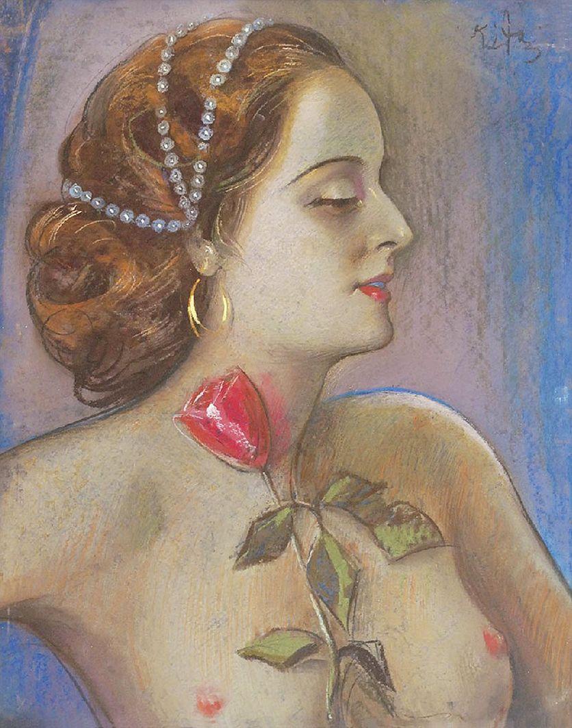 Юзеф Кідонь. Жінка з трояндою, 1930; картон, пастель