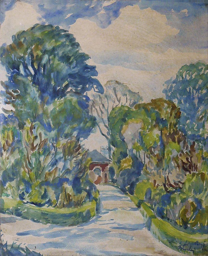 Володимир Блоцький. Парк в Парижі, 1914; папір, акварель
