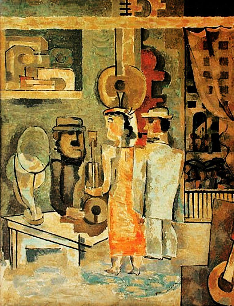 Анджей Пронашко. Магазин музичних інструментів, 1937; фанера, олія