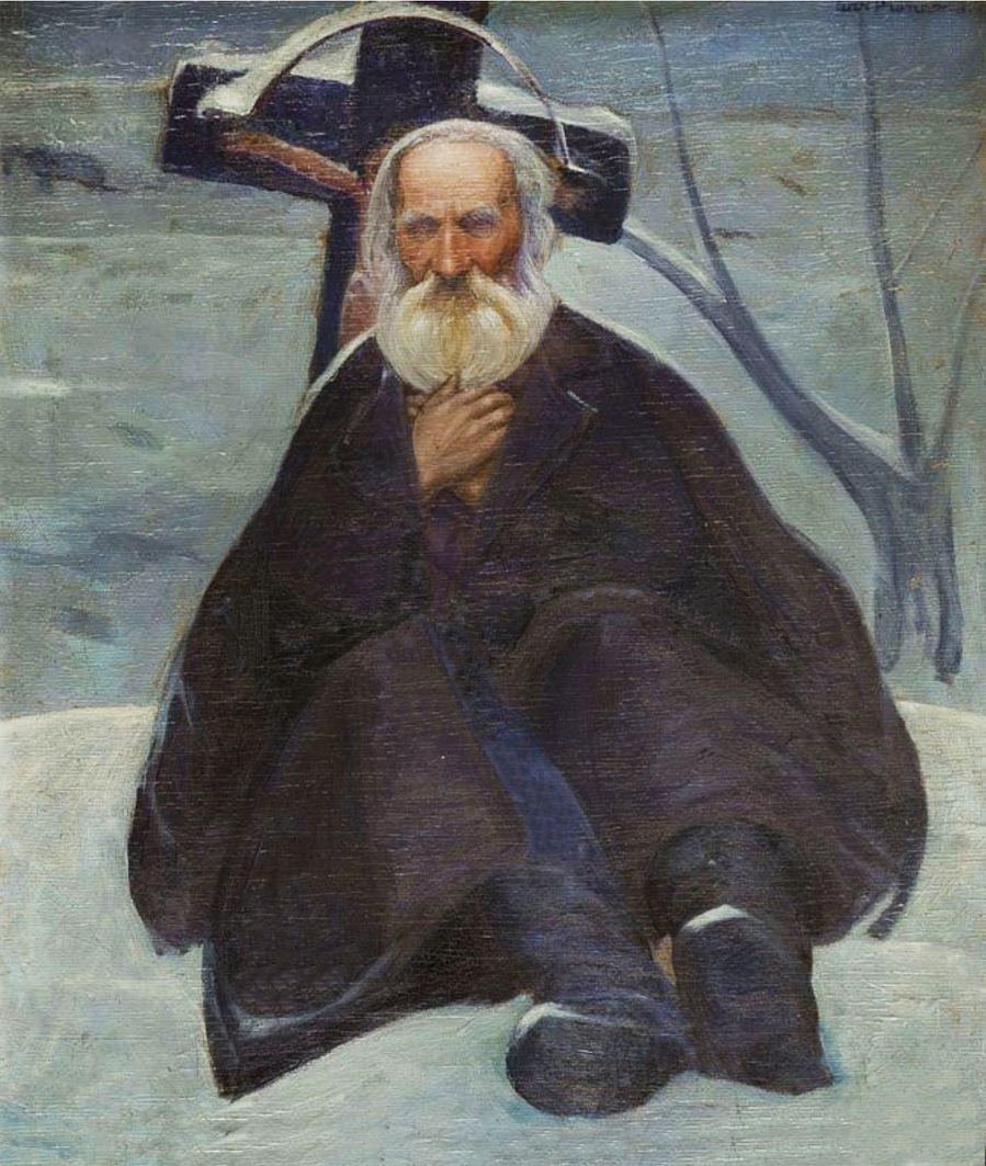 Анджей Пронашко. Старий на узбіччі дороги, 1900-ті; олія, полотно