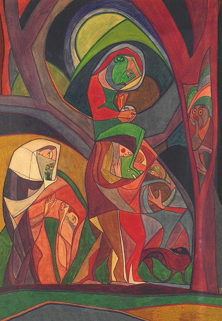 Анджей Пронашко. Хода (Втеча до Єгипту), 1916; папір, акварель; NMW