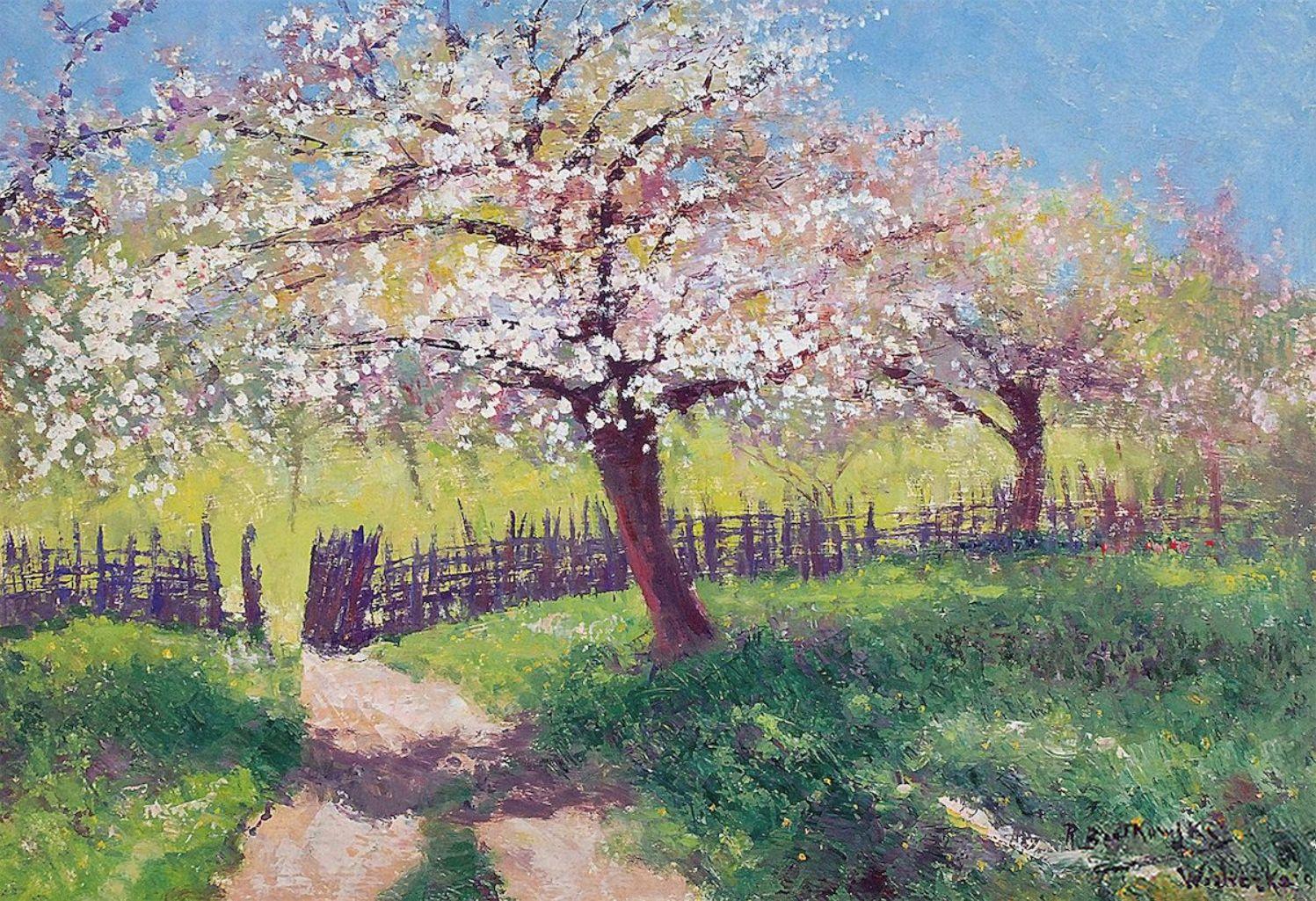 Роман Братковський. Яблуні квітнуть, 1943; олія, картон