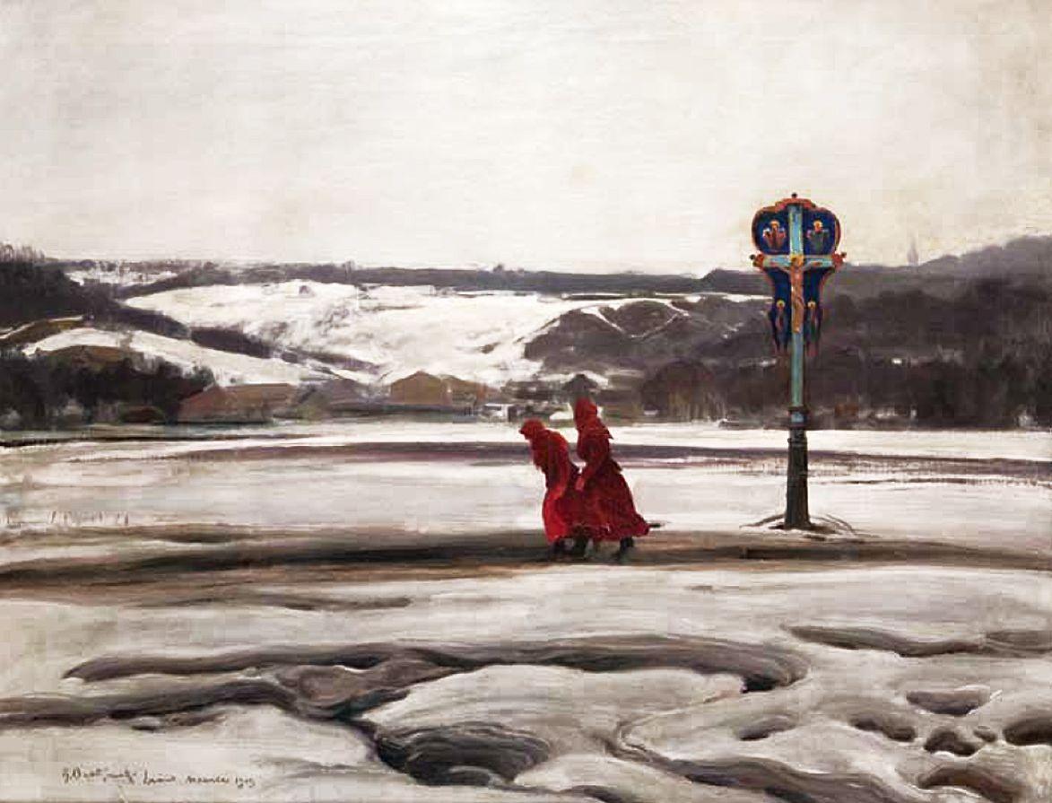 Роман Братковський. Зимовий символічний пейзаж, Львів, 1909; олія, полотно