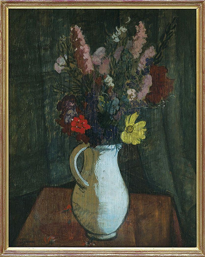 Тимон Нешеловський. Квіти в глечику, 1912; фанера, олія