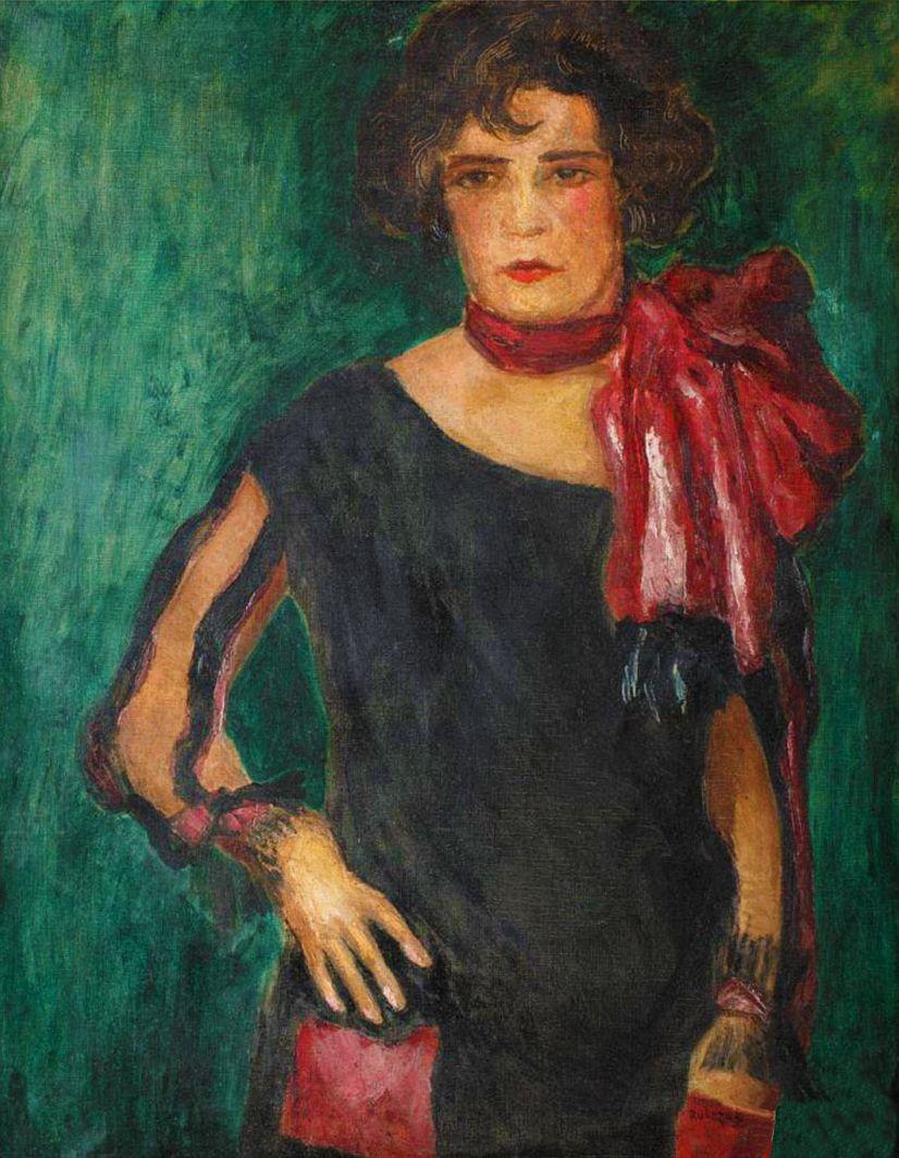 Ян Рубчак. Дама з шаликом; олія, полотно