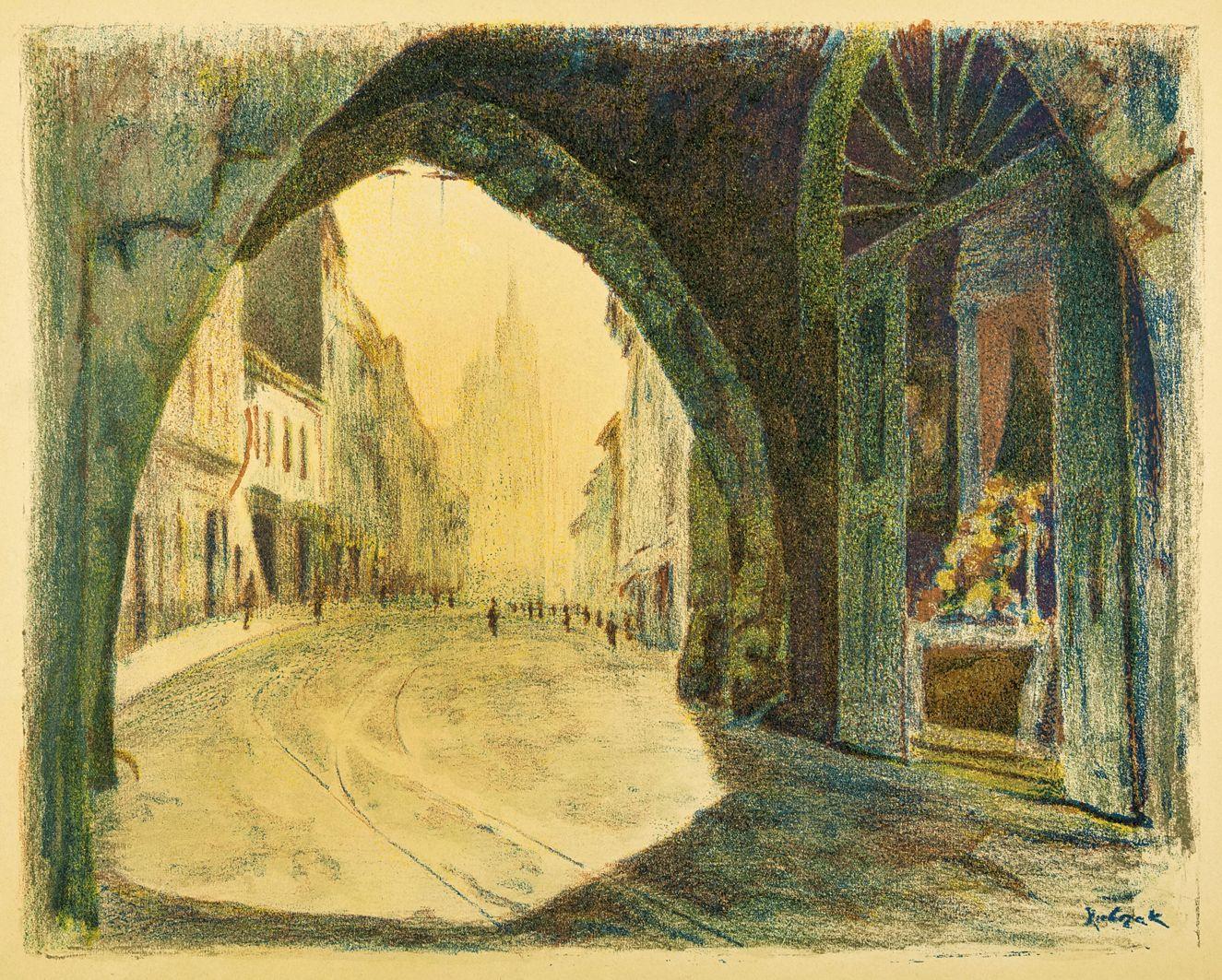 Ян Рубчак. Краків Флоріанська брама, 1926; літографія