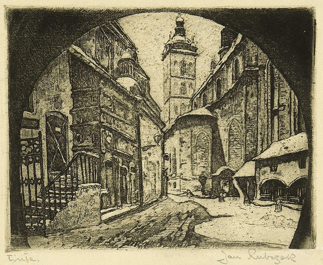 Ян Рубчак. Краків площа св. Марії, 1908; акватинта