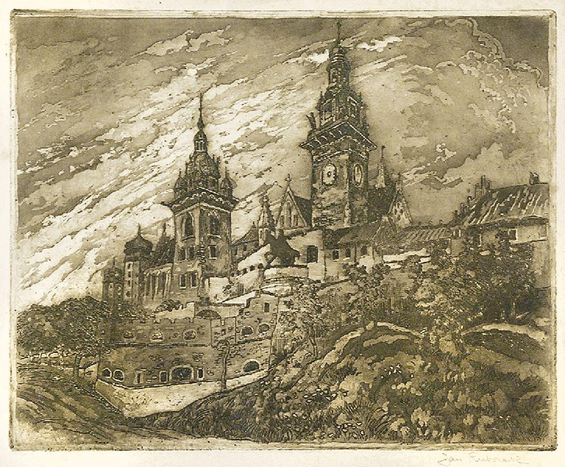 Ян Рубчак. Краків Вавель собор, 1913; офорт