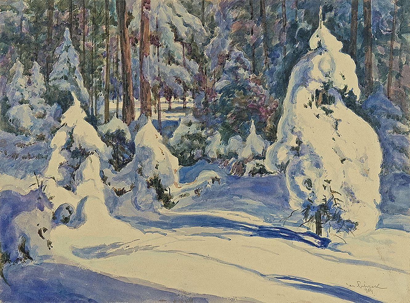 Ян Рубчак. Ліс в снігу, 1931; папір, акварель
