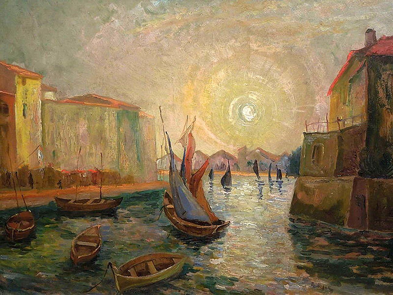 Ян Рубчак. Вид на місто з моря, 1920; олія, полотно