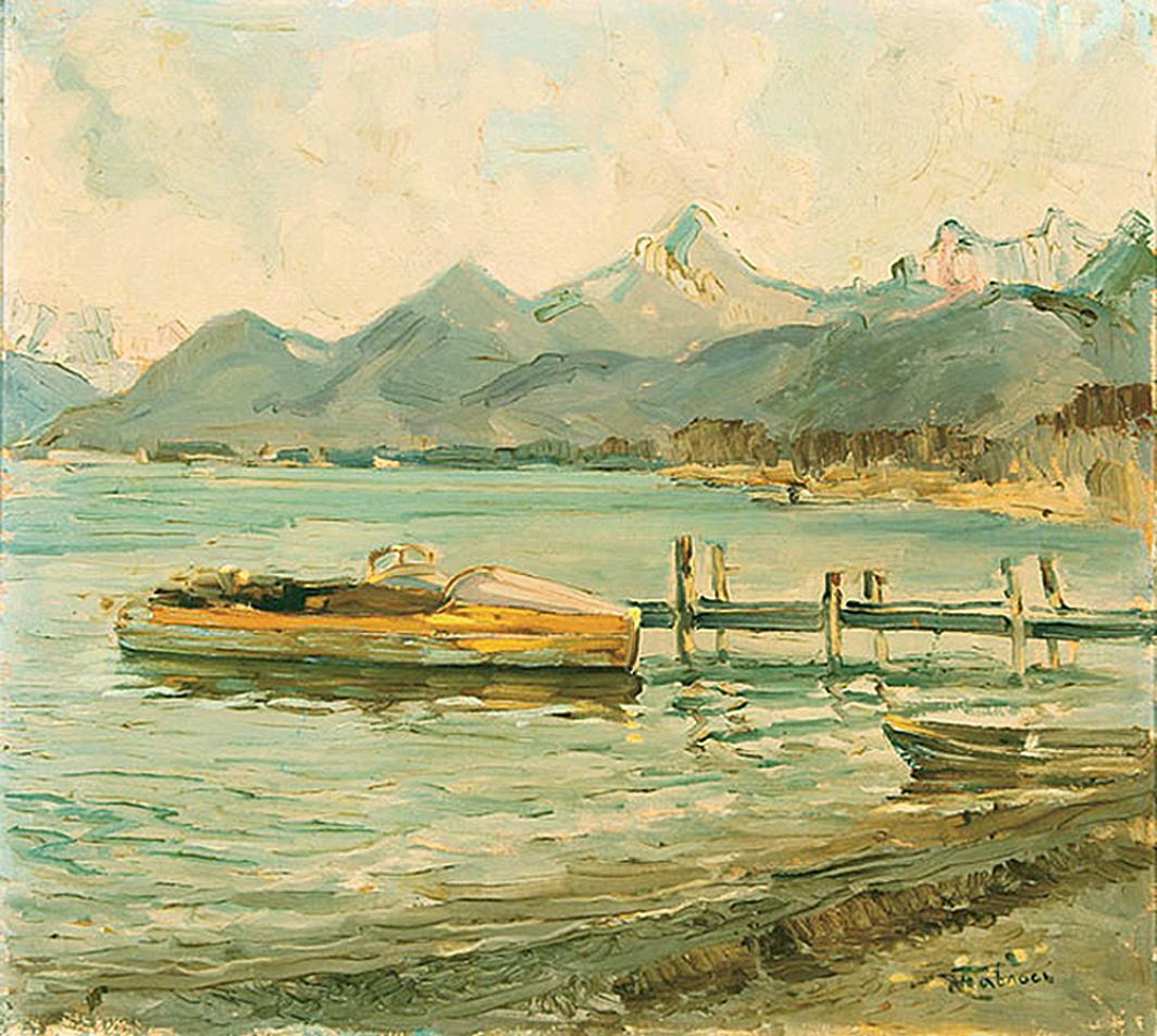 Антін Павлось. Пейзаж з озером; олія, полотно
