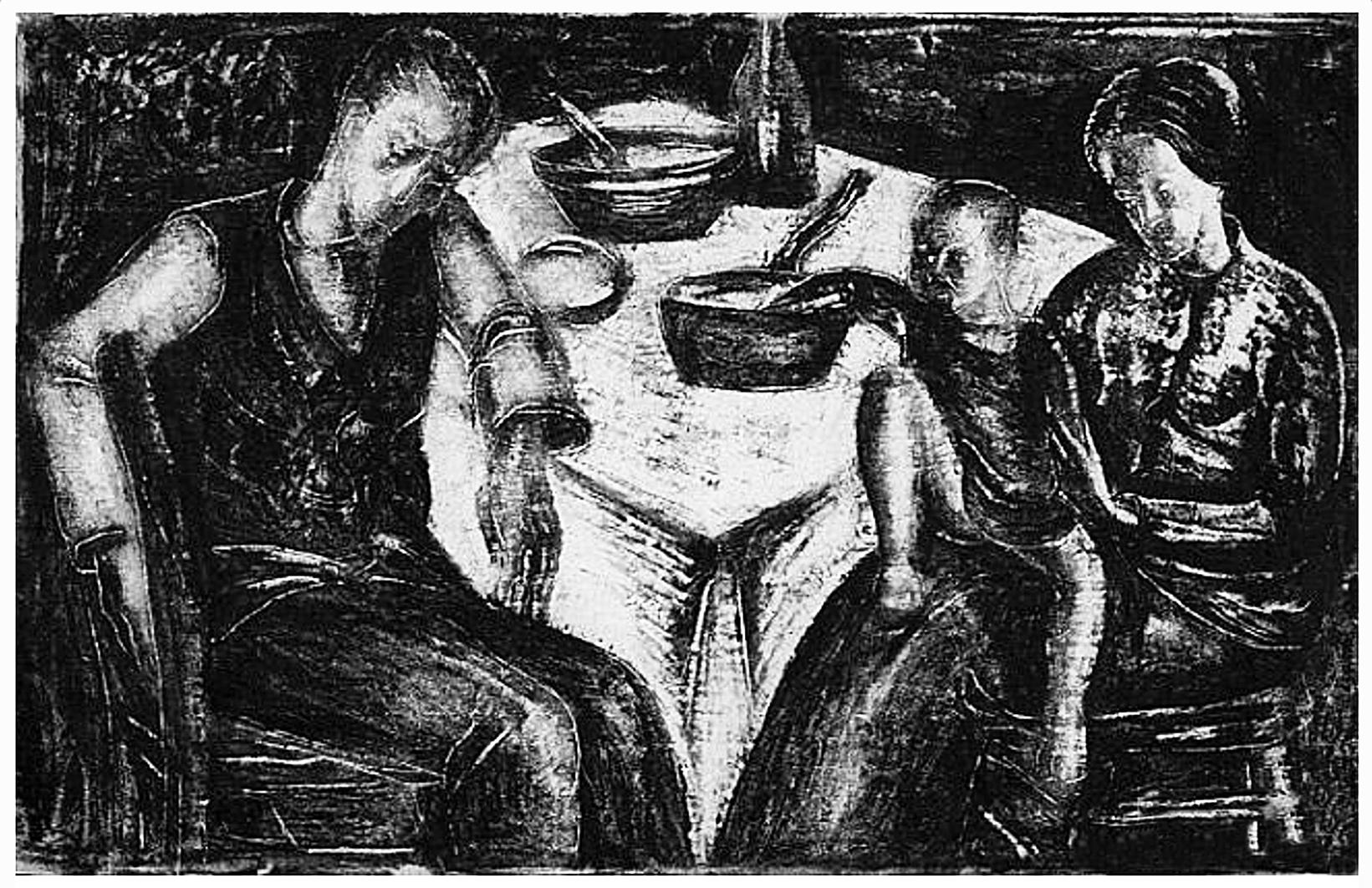 Давід Сейфер. Родина за столом, 1925, дереворит