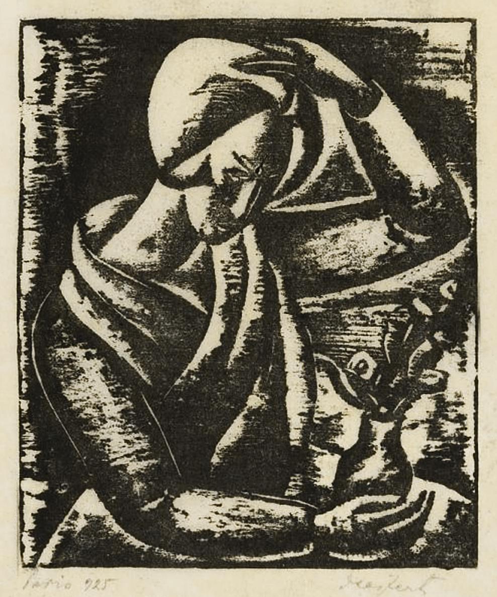 Давід Сейфер. Жінка з квітами, 1925, дереворит