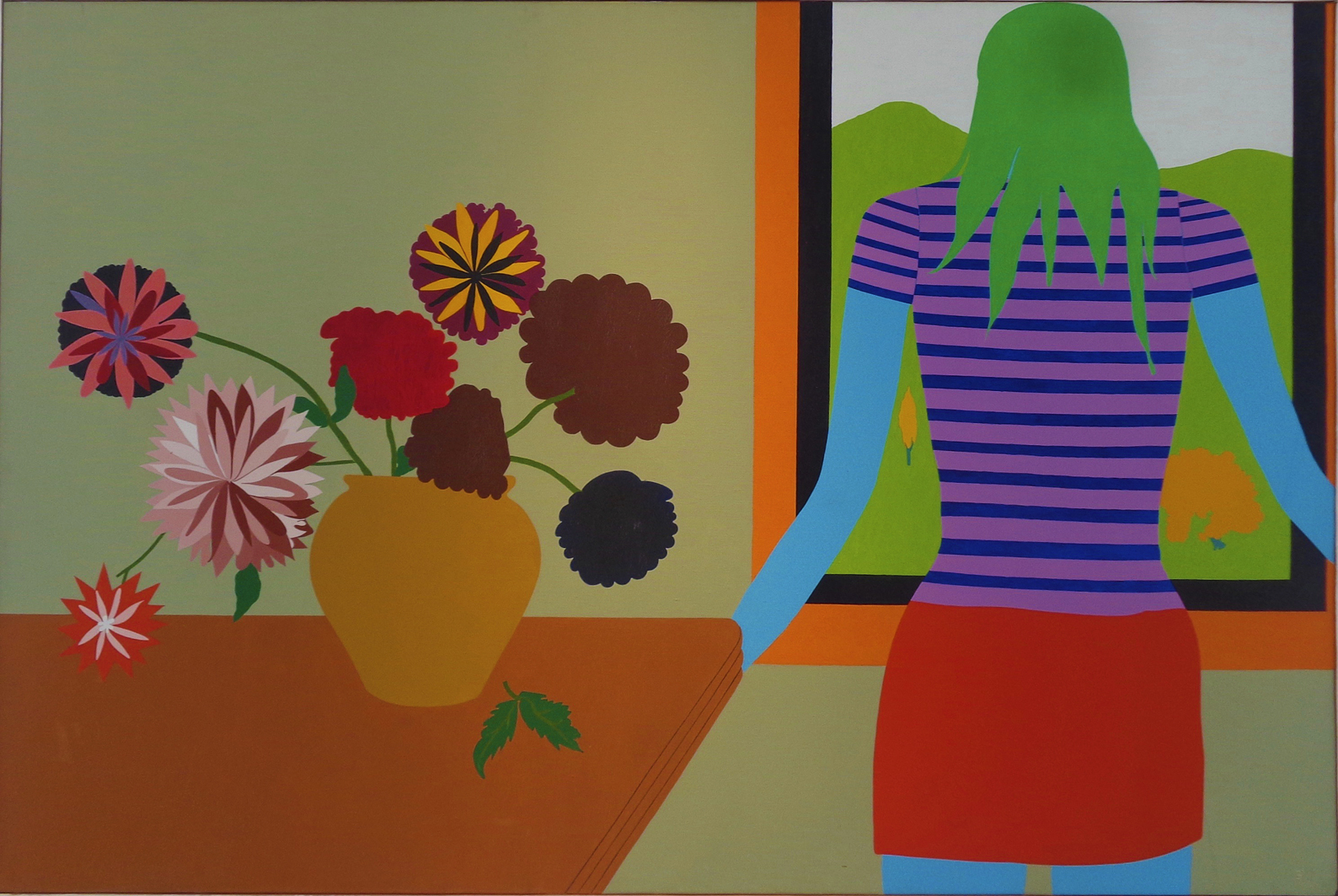 Емануель Проуллер. Елізабет та букет георгінів, 1970; олія, полотно