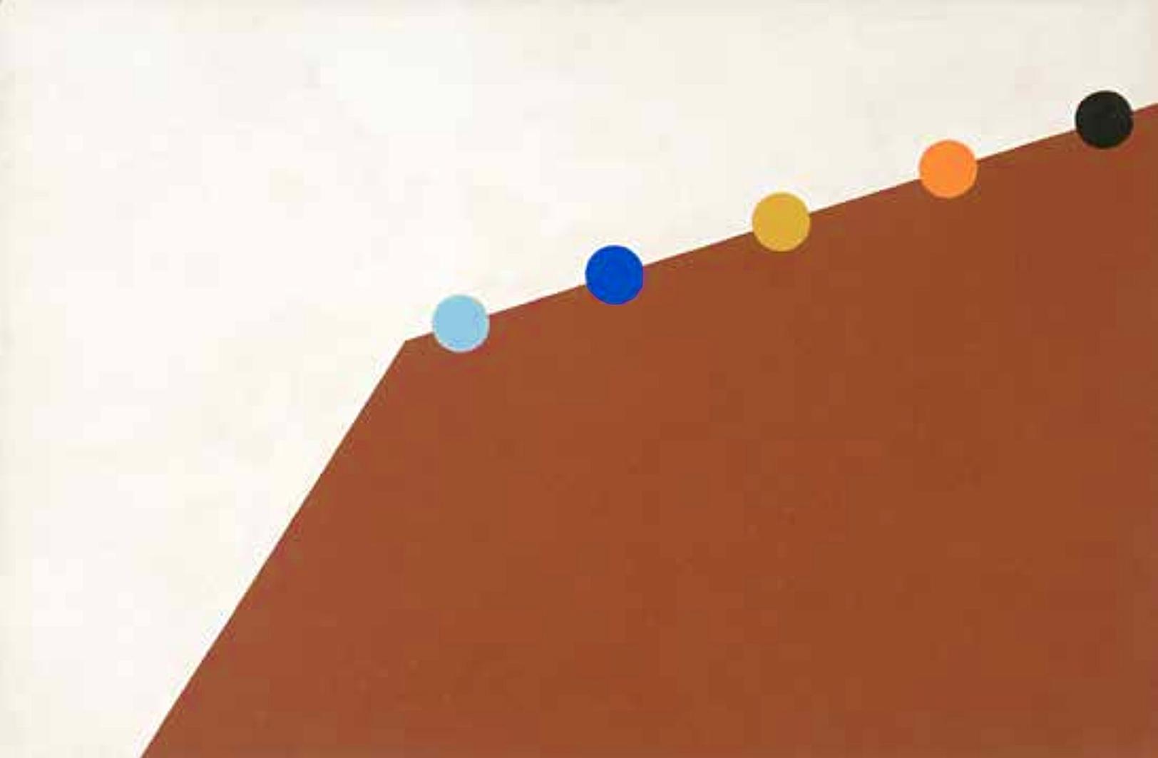 Емануель Проуллер. П'ять кіл між світлим і коричневим, 1960; картон, гуаш