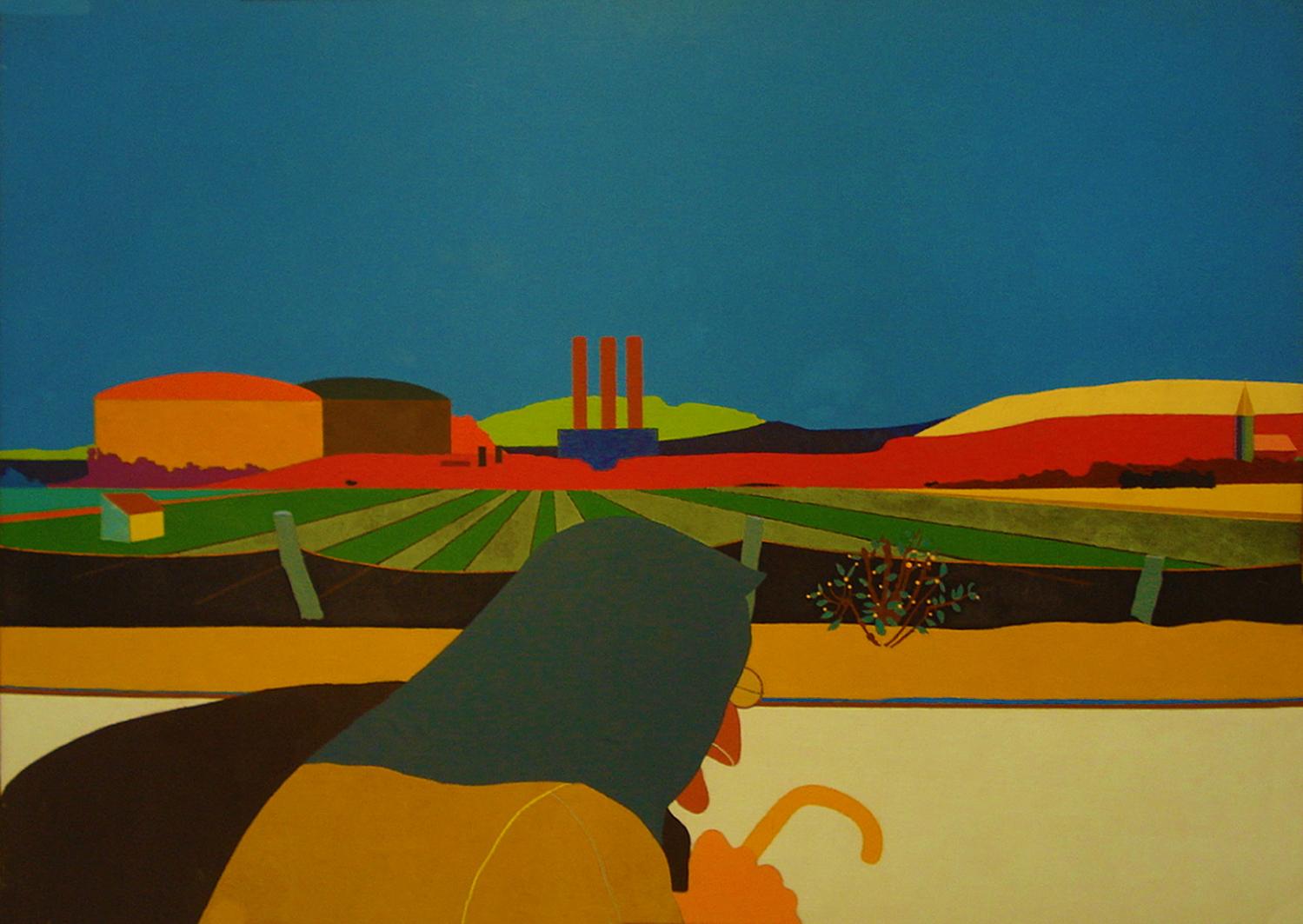 Емануель Проуллер. Пейзаж передмістя, 1967; олія, полотно