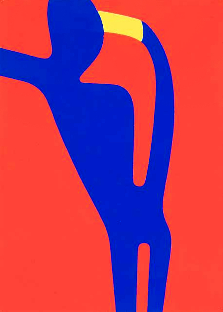 Емануель Проуллер. Силует на червоному фоні, 1955; папір, гуаш