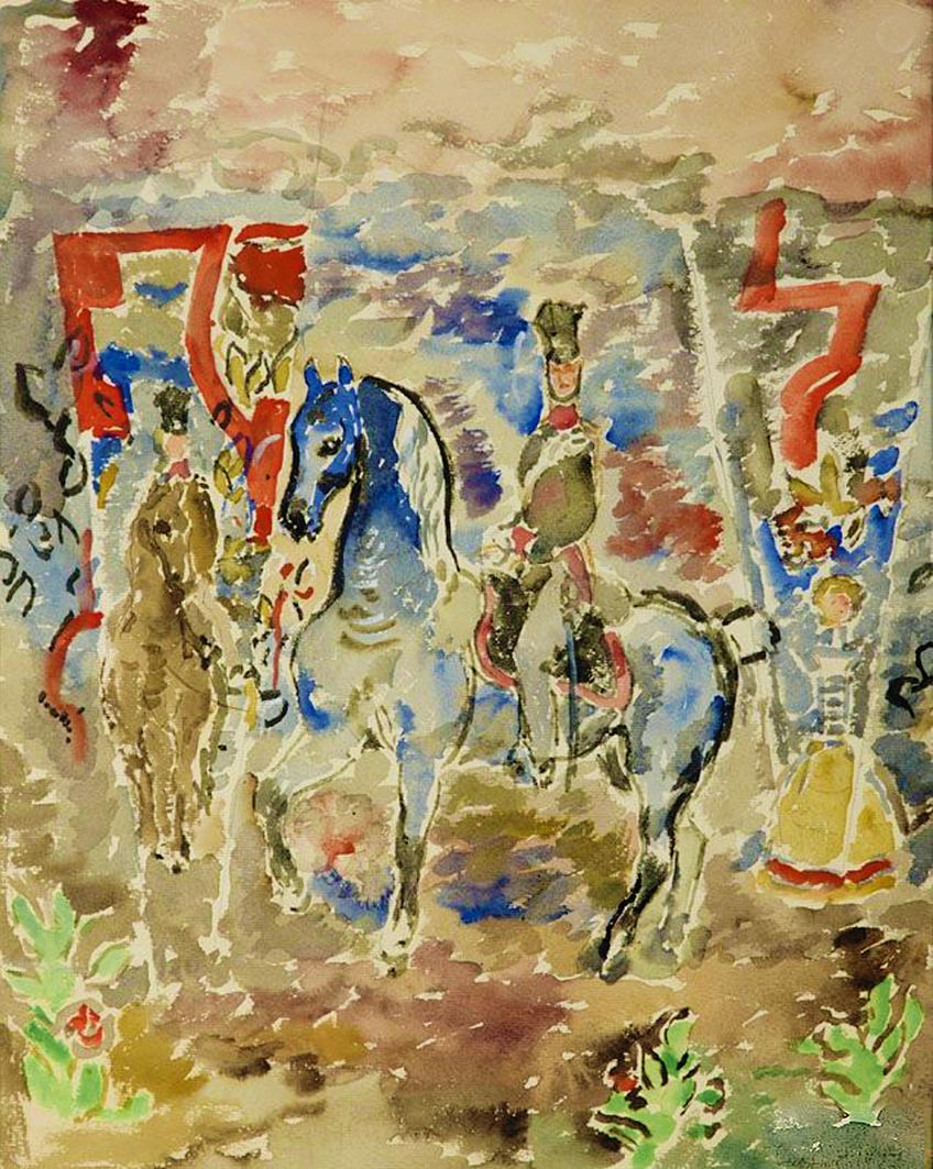 Євген Гепперт. Улан на синьому коні, 1927; папір, акварель