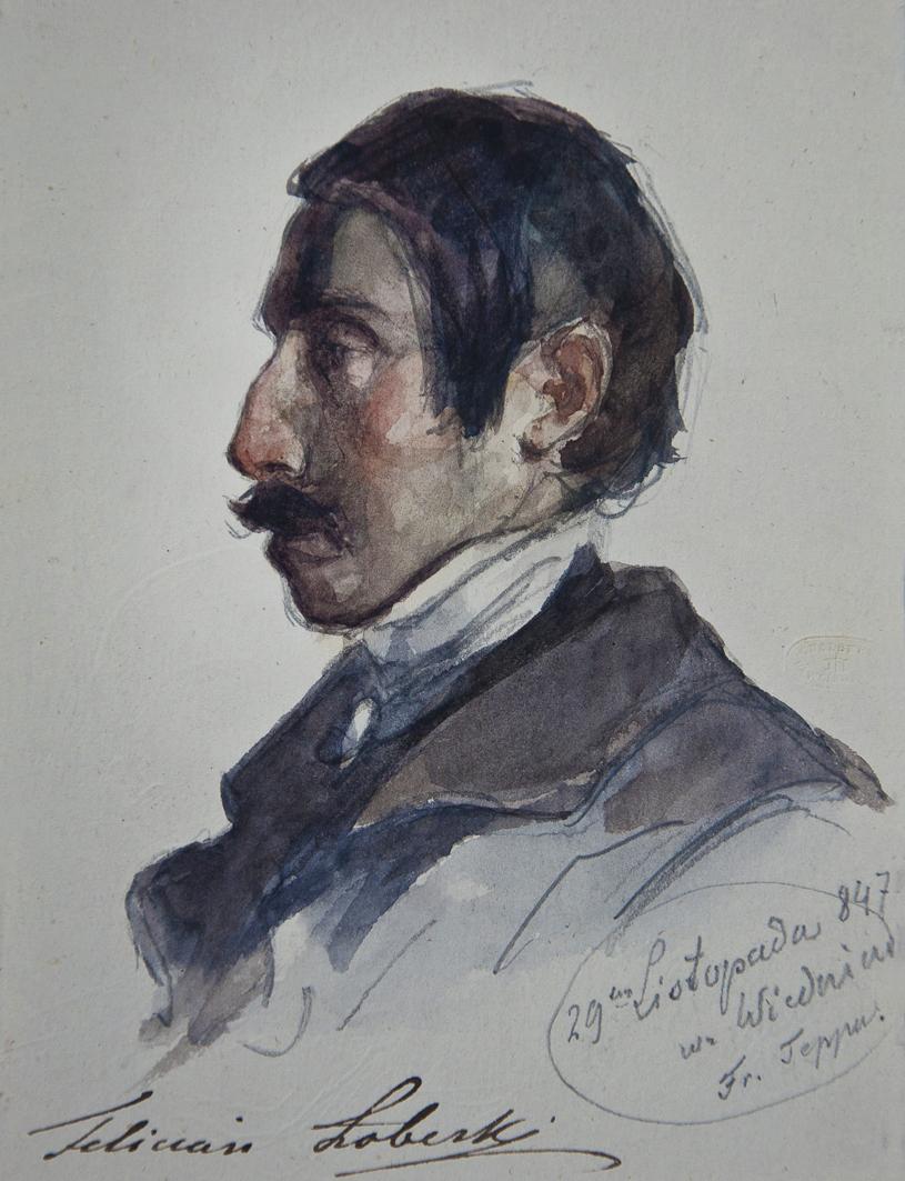 Францішек Томаш Тепа. Поет і художник Лобеський Феліціан, 1847; папір, акварель