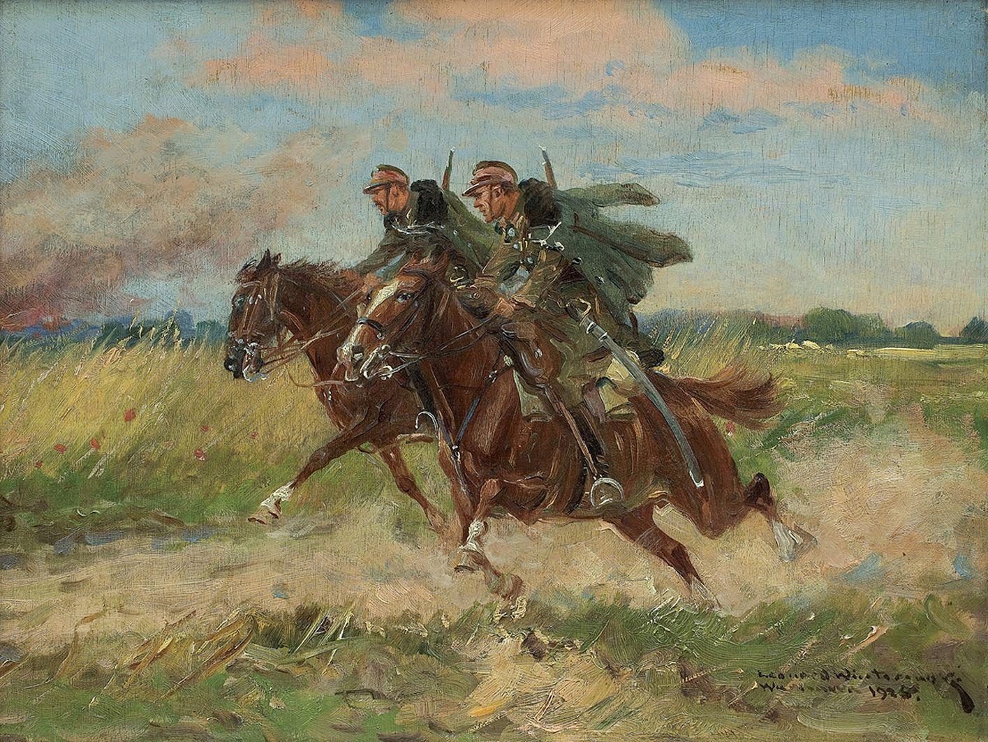 Леонард Вінтеровський. Галоп уланів, 1925; олія, фанера