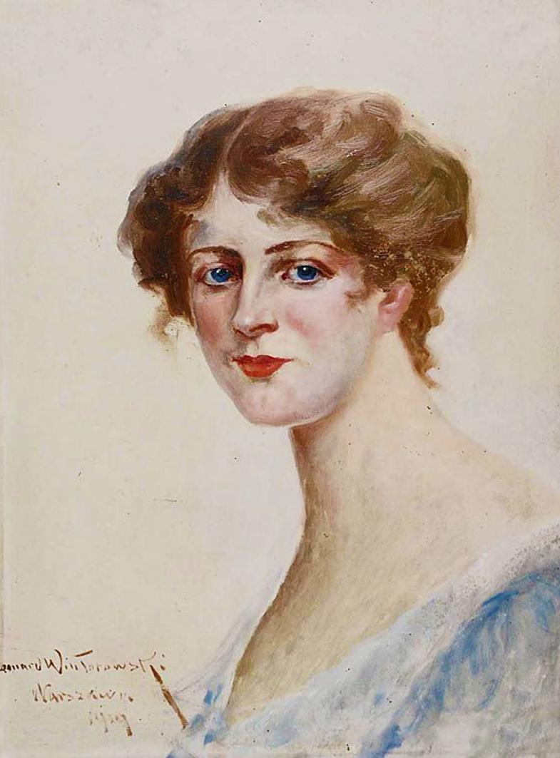 Леонард Вінтеровський. Портрет молодої жінки, 1919; олія, картон