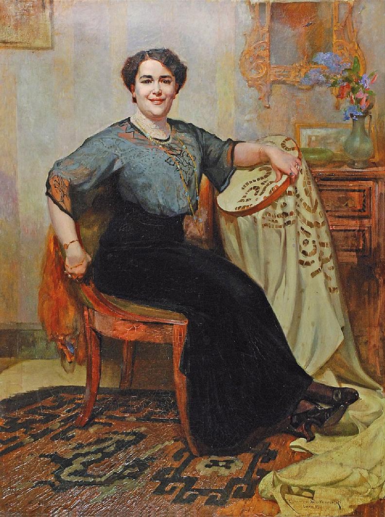 Леонард Вінтеровський. Портрет за вишиванням, Львів, 1912; олія, полотно