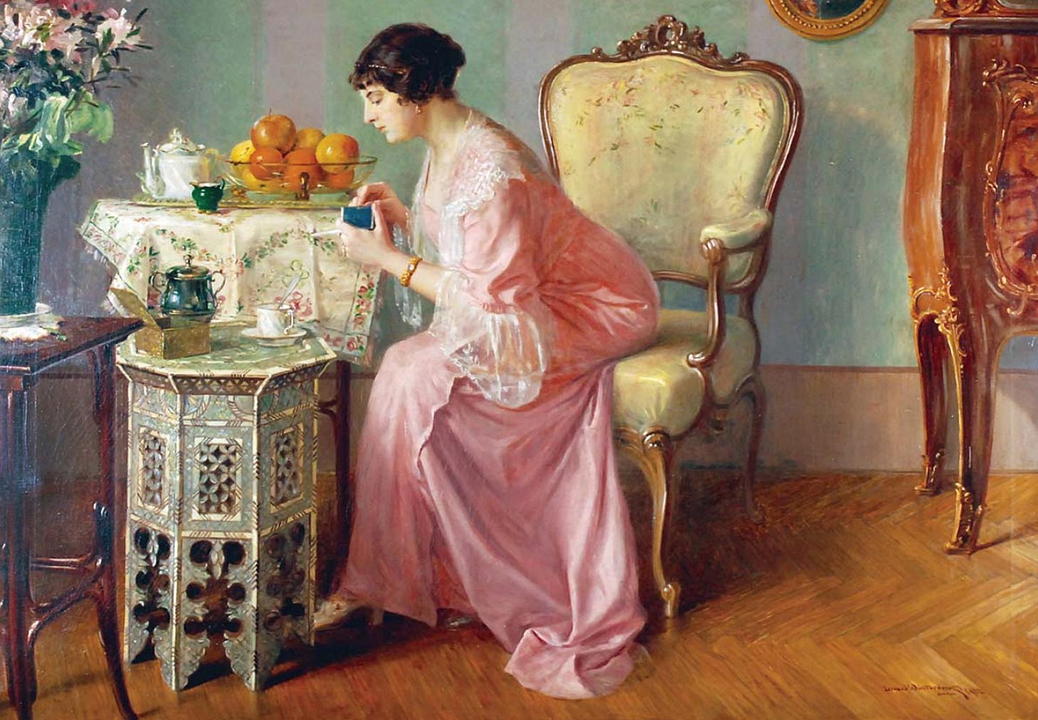 Леонард Вінтеровський. Ранок з чорною кавою, 1913, Львів; олія, полотно
