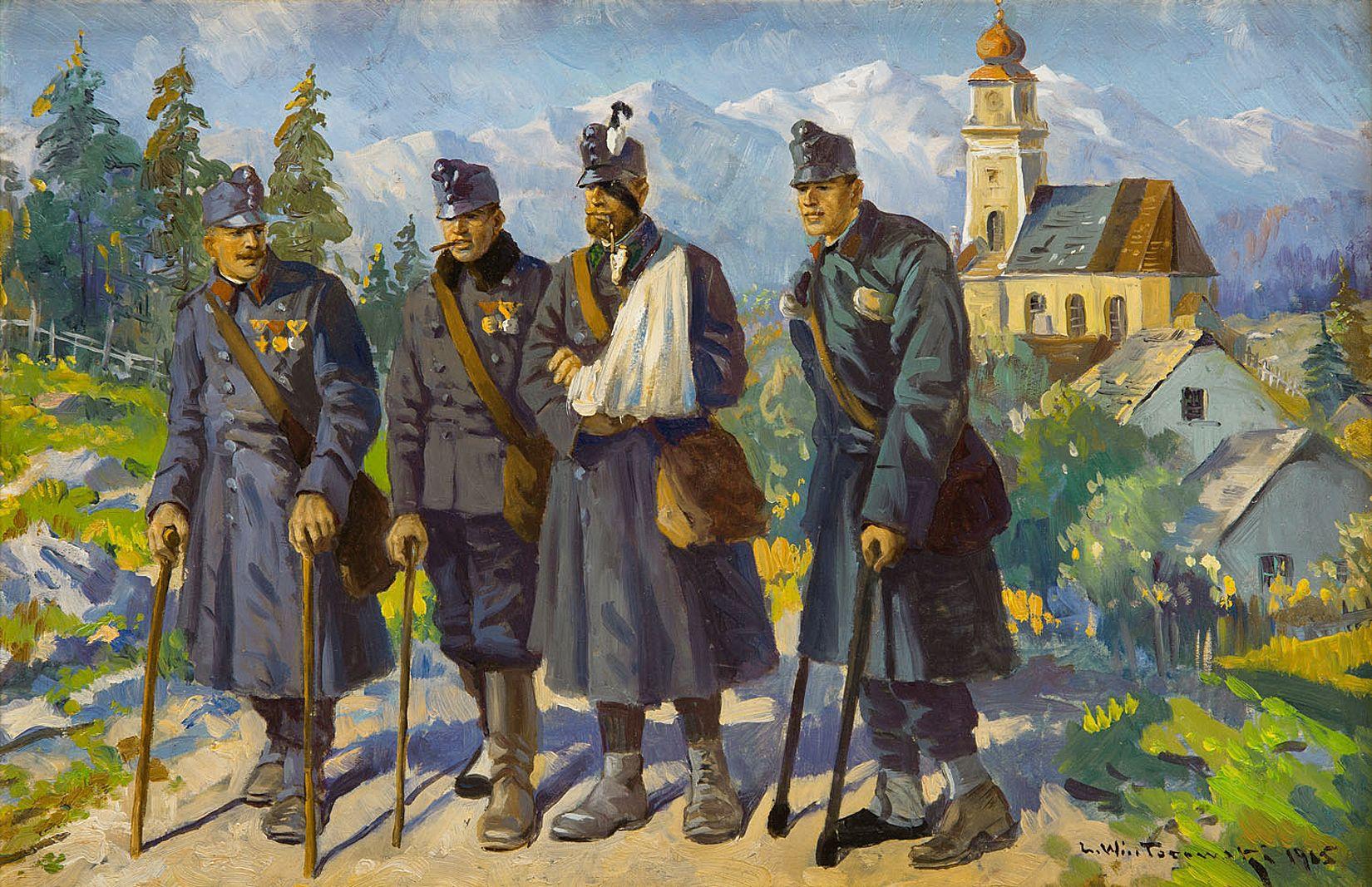 Леонард Вінтеровський. Ветерани війни, 1915; олія, картон
