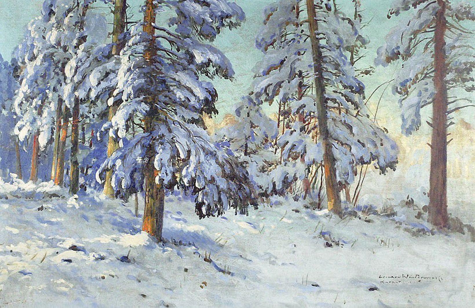 Леонард Вінтеровський. Зима в Карпатах, 1916; олія, полотно