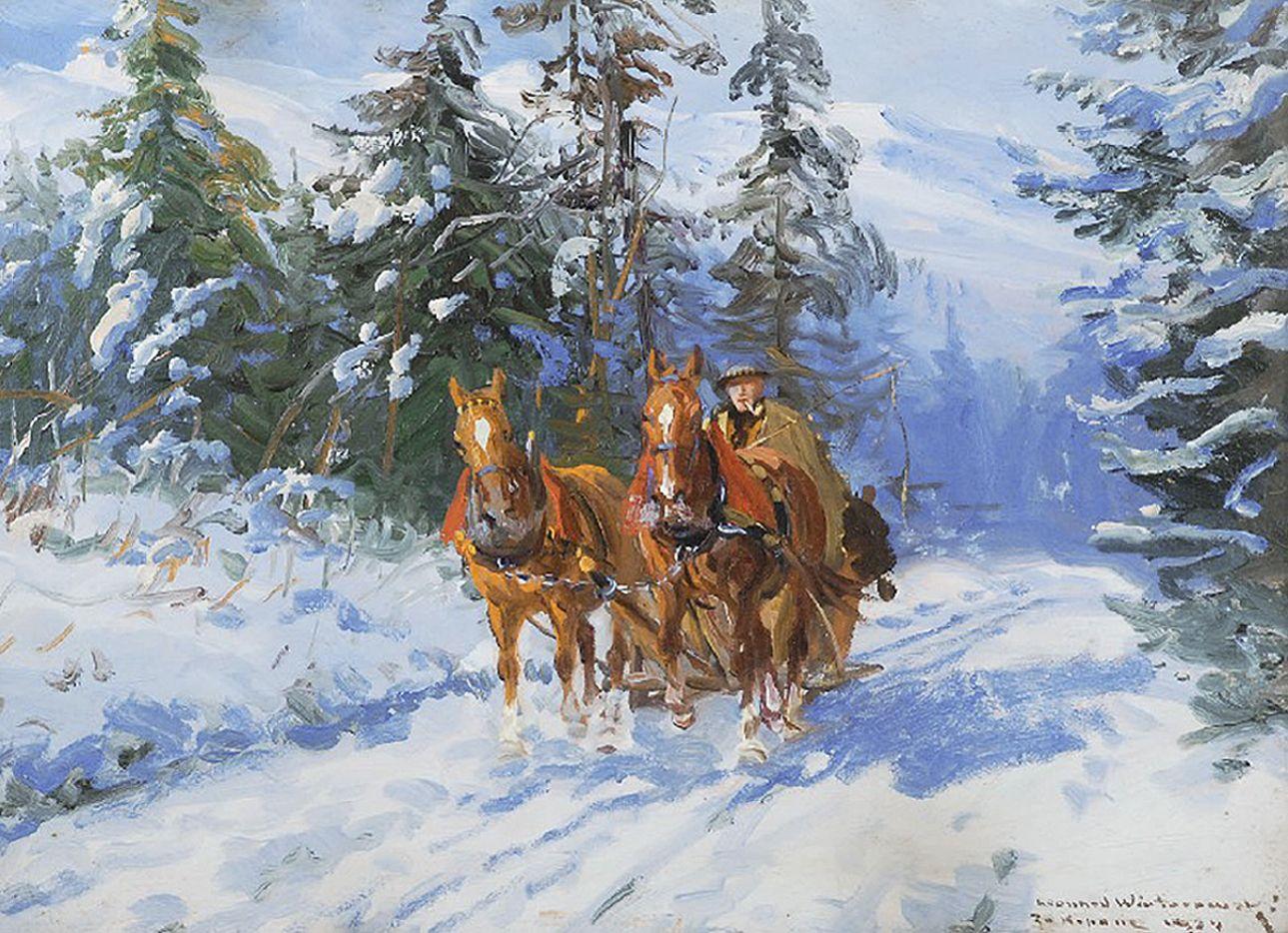 Леонард Вінтеровський. Зимова тема, 1924; олія, картон