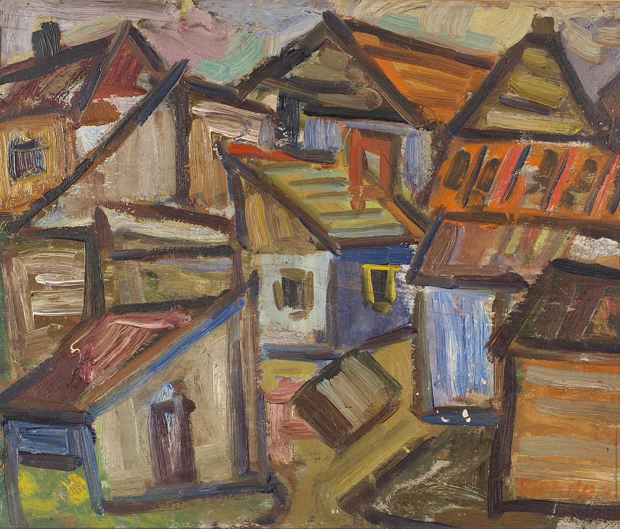 Саша Блондер. Пейзаж з будинками, 1930-ті, JHI