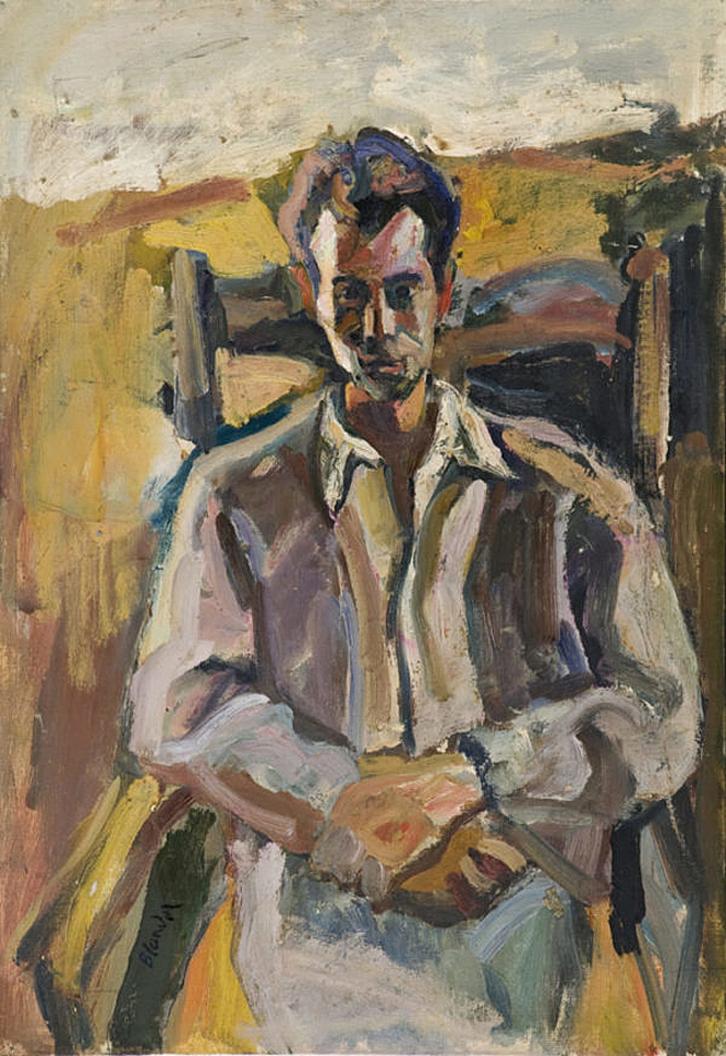Саша Блондер. Портрет чоловіка в кріслі; картон, олія
