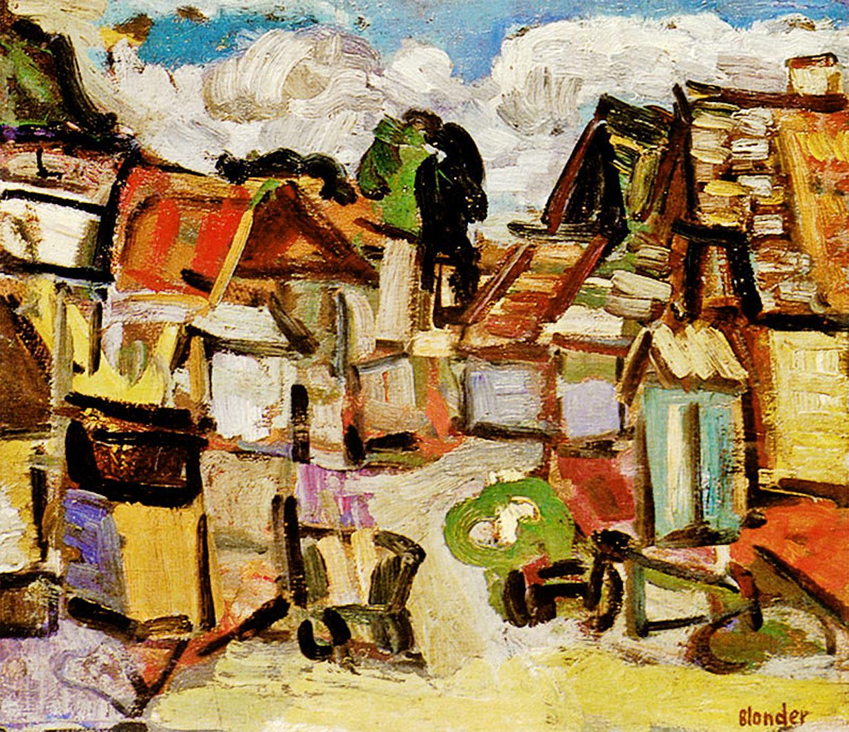 Саша Блондер. Вуличка у Кременці, 1934; фанера, олія; MSL