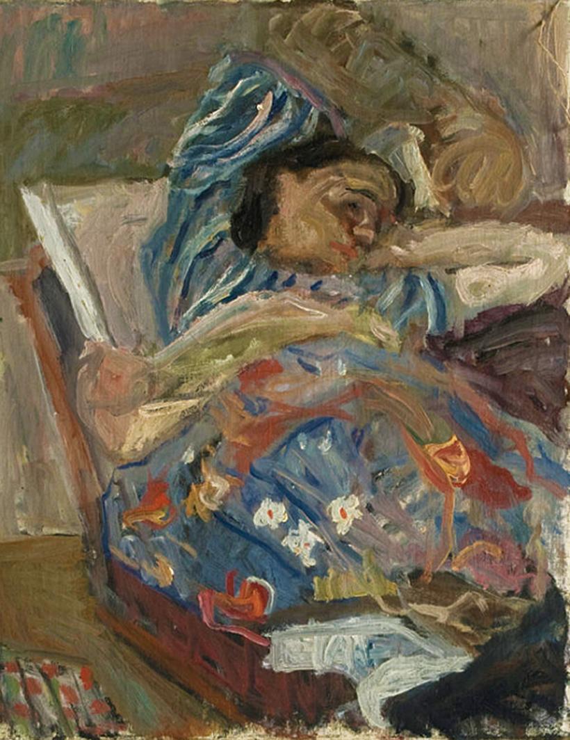 Саша Блондер. Жінка, що лежить 1938; картон, олія