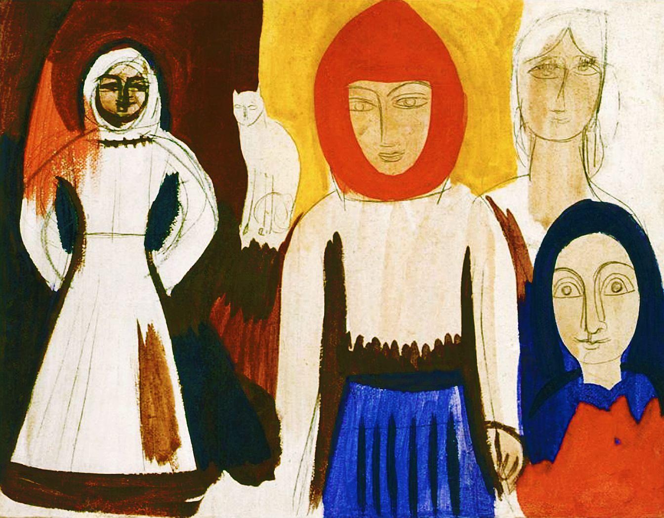 Михайло Бойчук. Чотири жінки й кіт, 1912; картон, темпера