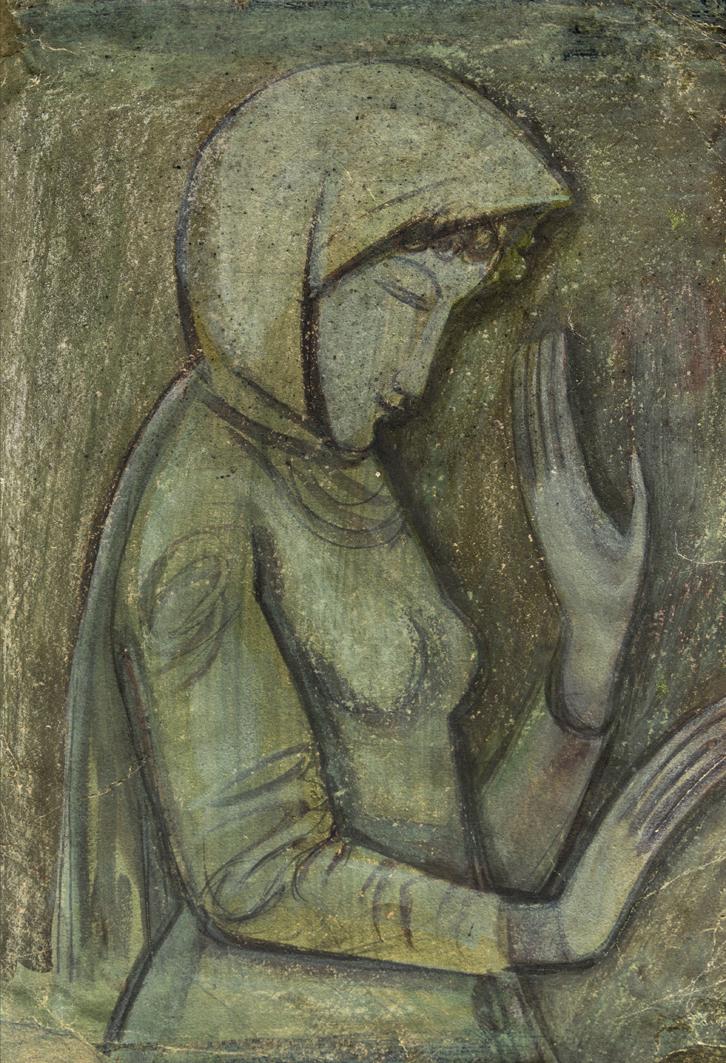 Михайло Бойчук. Дівчина під деревом, 1910-і; картон, гуаш; ЛНГМ