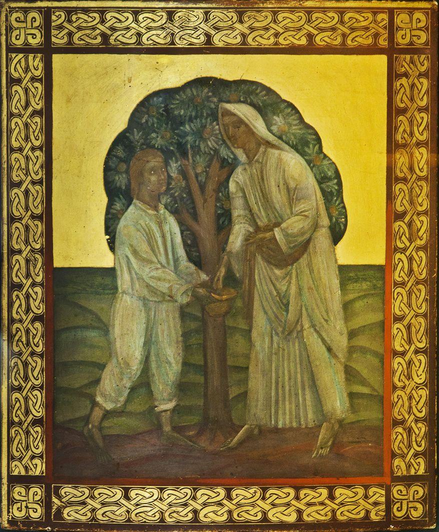 Михайло Бойчук. Двоє під яблунею, 1910-і; дошка, олія; ЛНГМ