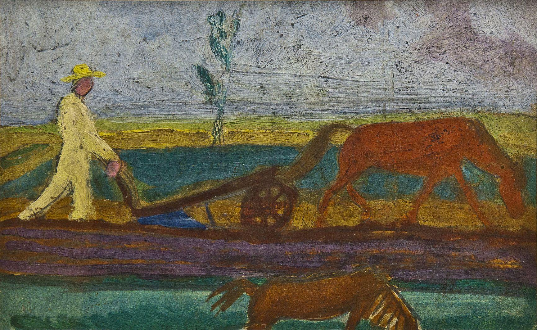 Михайло Бойчук. Орач, 1910-і, ескіз; картон, темпера, олія; ЛНГМ