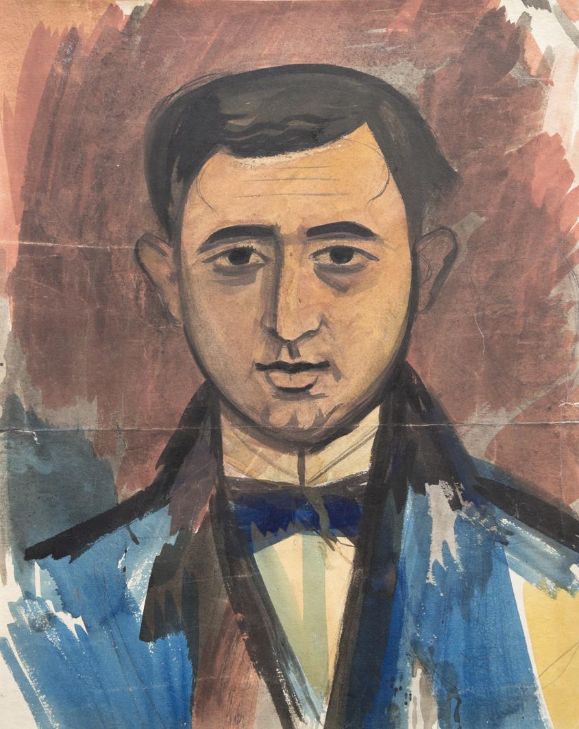 Михайло Бойчук. Портрет чоловіка, 1909; папір, акварель, туш; ЛНГМ