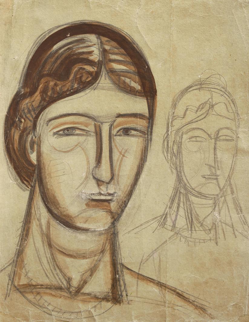 Михайло Бойчук. Портрети жінок, 1910-і; папір, олівець, акварель; ЛНГМ
