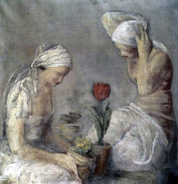 Леопольд Ґоттліб. Дві жінки з тюльпаном, 1931; олія, полотно; MNK
