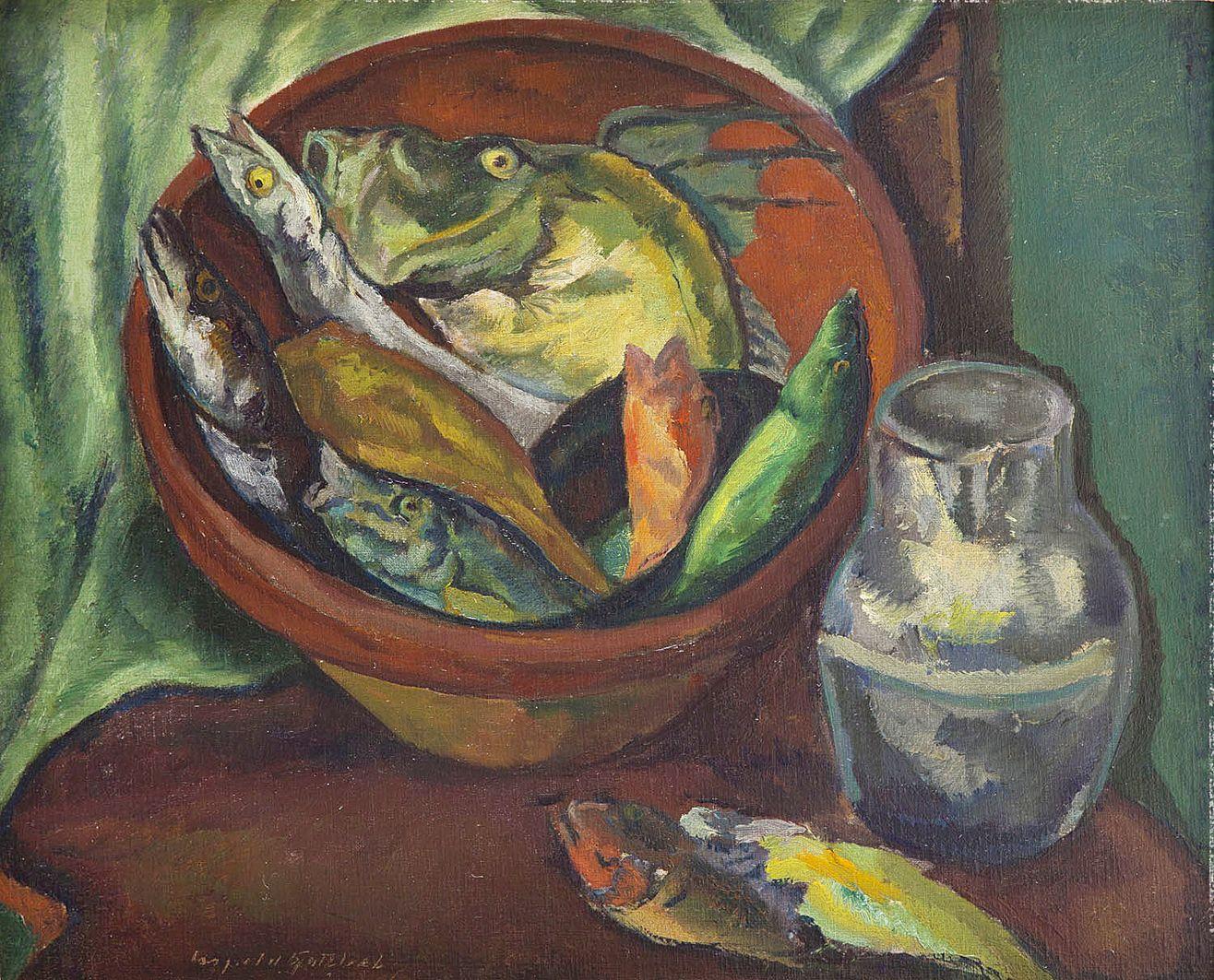 Леопольд Ґоттліб. Натюрморт з рибою, 1925; олія, полотно